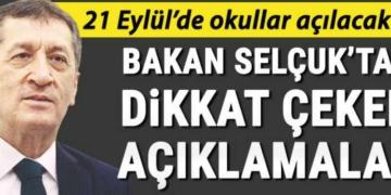 21 Eylül'de okullar açılacak mı?... Bakan Selçuk'tan önemli açıklamalar