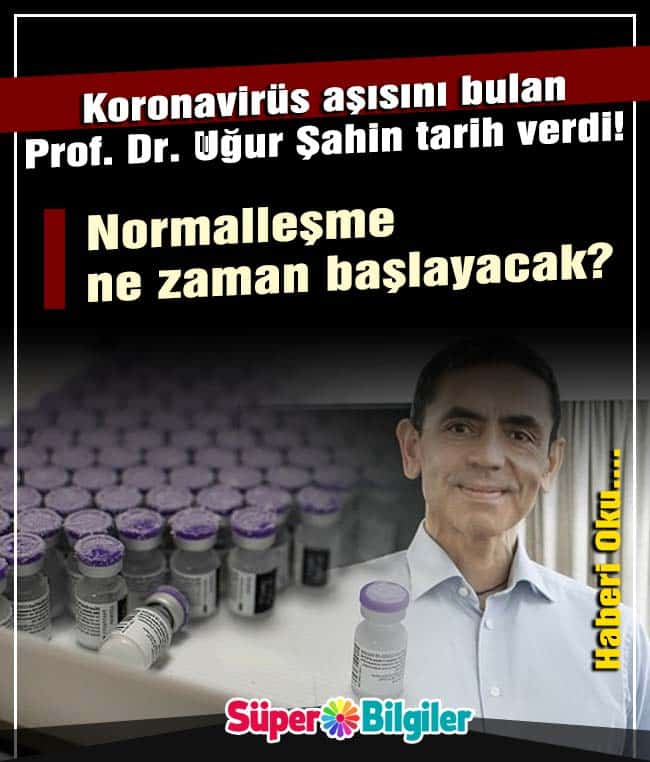 Koronavirüs aşısını bulan Prof. Dr. Uğur Şahin tarih verdi! Normalleşme ne zaman başlayacak? 2